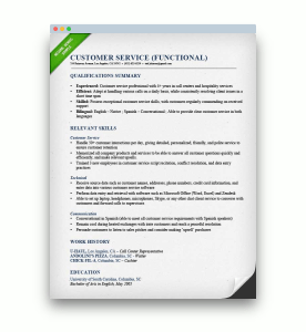picture of a Functional resume